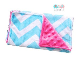 Turquoise Chevron On Hot Pink Double Baby Minky Burp Cloth