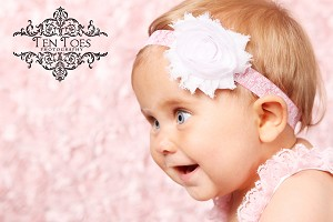 White Chiffon Rosette on Pink Damask Baby Headband