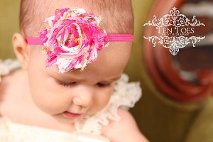 Hot Pink Floral Chiffon Rosette Skinny Baby Headband