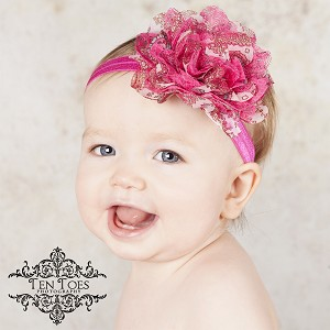 Hot Pink Peacock Flower Satin Baby Headband