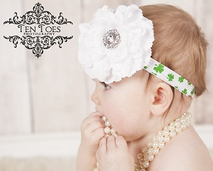 St Pattys Day Flower Baby Headband