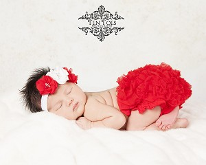 Red White Pearl Rhinestone Flower Headband