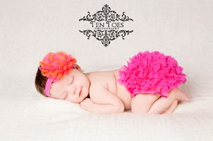 Hot Pink and Orange Flower Baby Headband and Matching Bloomers