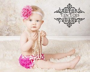Hot Pink Chevron Flower Satin Baby Headband