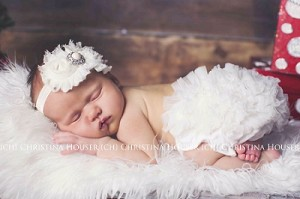 White Chiffon Bloomers and Pearl Rhinestone Baby Headband Set Girl Newborn Outfit