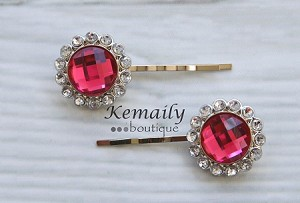 Hot Pink and Clear Rhinestone Hair Clip