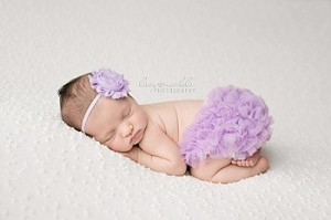 Lavender Chiffon Flower Baby Headband and Matching Bloomers