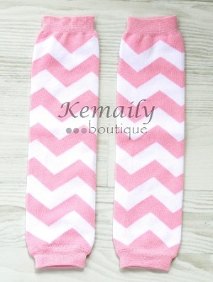 Pink Chevron Girls Leg Warmers