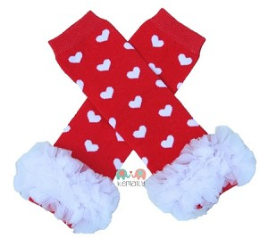 Red White Heart Chiffon Ruffle Leg Warmers