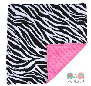 Zebra on Hot Pink Double Minky Lovey