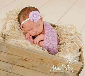 Lavender Pearl and Rhinestone Flower Baby Headband