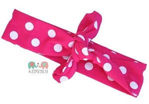 Hot Pink Polka Dot Top knot Headband
