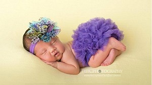 Purple Peacock Flower Baby Headband and Chiffon Ruffle Bloomers Girl Newborn Outfit