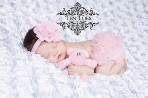 Pink Flower Baby Headband and Matching Bloomers