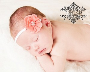 Coral Pearl and Rhinestone Flower Baby Headband