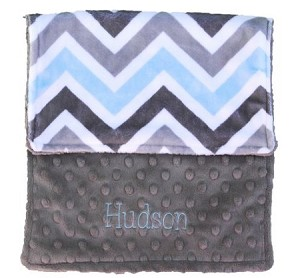 Personalized Blue Grey Chevron Minky Burp Cloth Baby Gift
