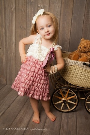Ivory and Dusty Rose Lace Baby Dress