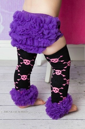 Hot Pink Skulls Chiffon and Purple Ruffle Leg Warmers