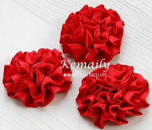 Set of 3 Red Satin Puff Rolled Rosette Flowers