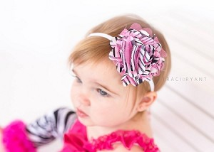 Hot Pink Zebra Baby Headband