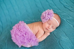 Lavender Flower Baby Headband and Bloomers